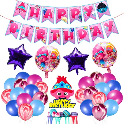 Angolio 32 Pcs Party Supplies For Troll Theme Happy Birthday Decorations Party Supplies Kit Party Favor All In One Pack Including Party Balloons Banner Flag Cake Topper For Boys Girls Party Favours Amazon