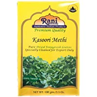 Rani Fenugreek Leaves Dried, All Natural (Kasoori Methi) 100g (3.5oz) ~ Gluten Free Ingredients | Non-GMO ~ Vegan