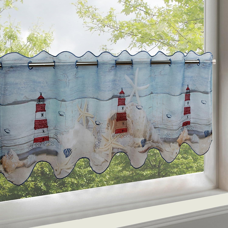 Rideau brise-bise Kamaca-Shop - Voile avec imprimé photographique / numérique avec motifs - Finition de qualité supérieure - Semi-transparent et translucide - (H x l)45 x 115 cm - Parfait pour la cuisine, Tissu, Leuchtturm