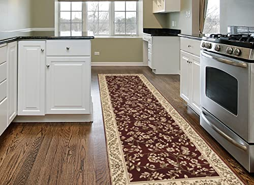 Traditional Floral Red 2 x 7 2 Runner Area Rug