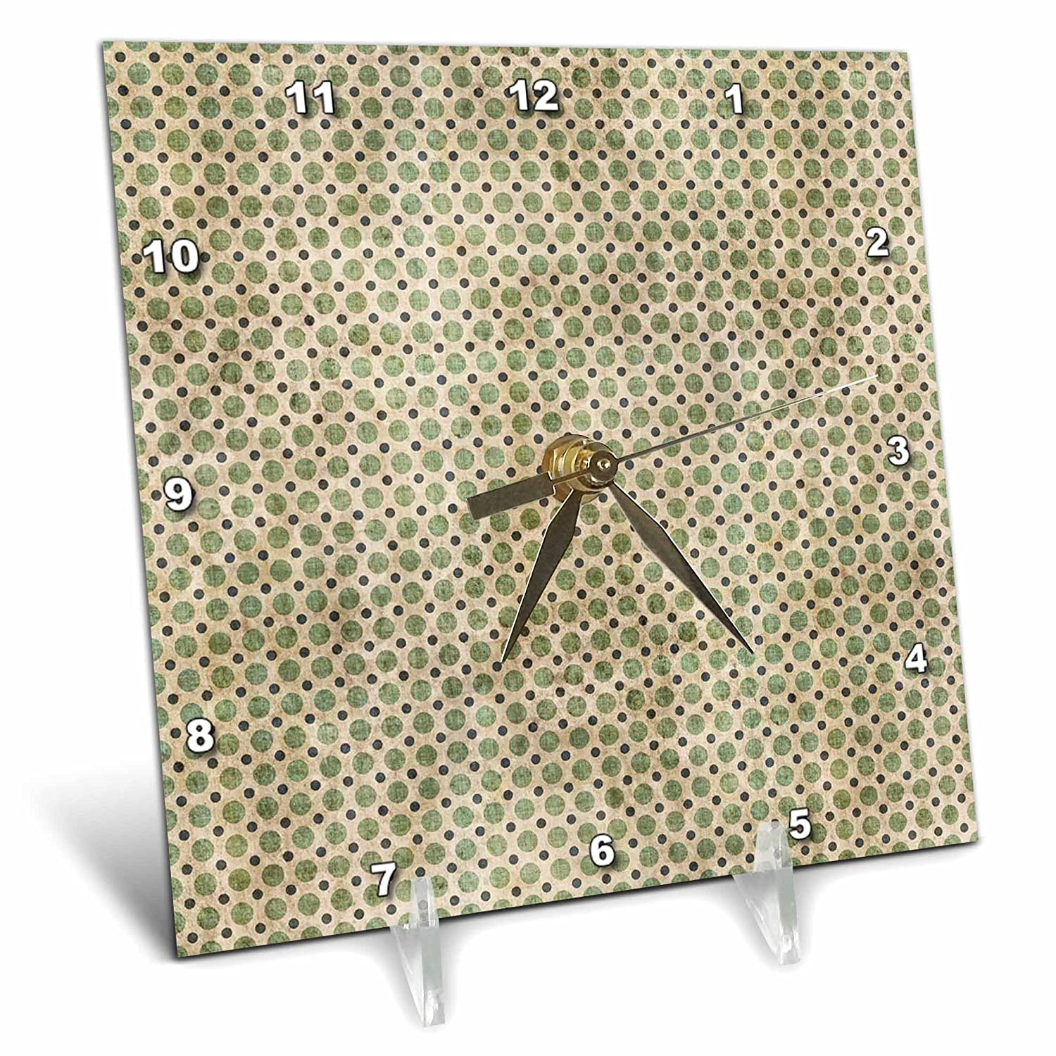 6 by 6-Inch 3dRose dc/_65972/_1 Green Grunge Polka Dots on a Beige Background with Blue Mini-Dots-Desk Clock