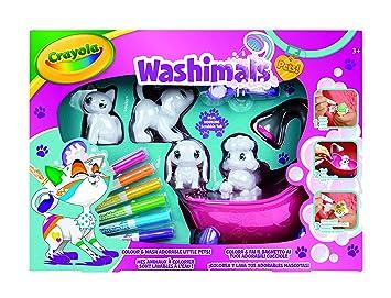 Gioco Per Colorare.Crayola Washimals Set Attivita Per Colorare E Fare Il Bagnetto Ai Cuccioli Gioco E Regalo Da 3 Anni