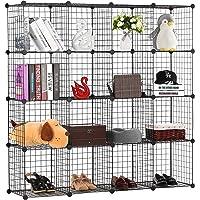 BASTUO 16-Cubos DIY Gabinete de almacenamiento de alambre estantería estantería cestas modulares cubos, 145 cm x…
