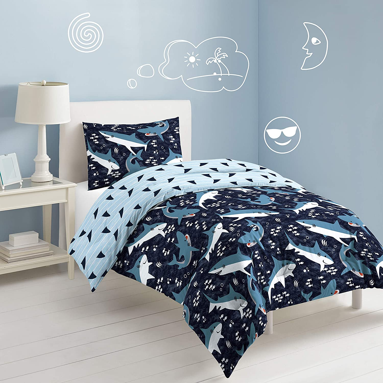 dream FACTORY Sharks Comforter Set, Full/Queen, Navy