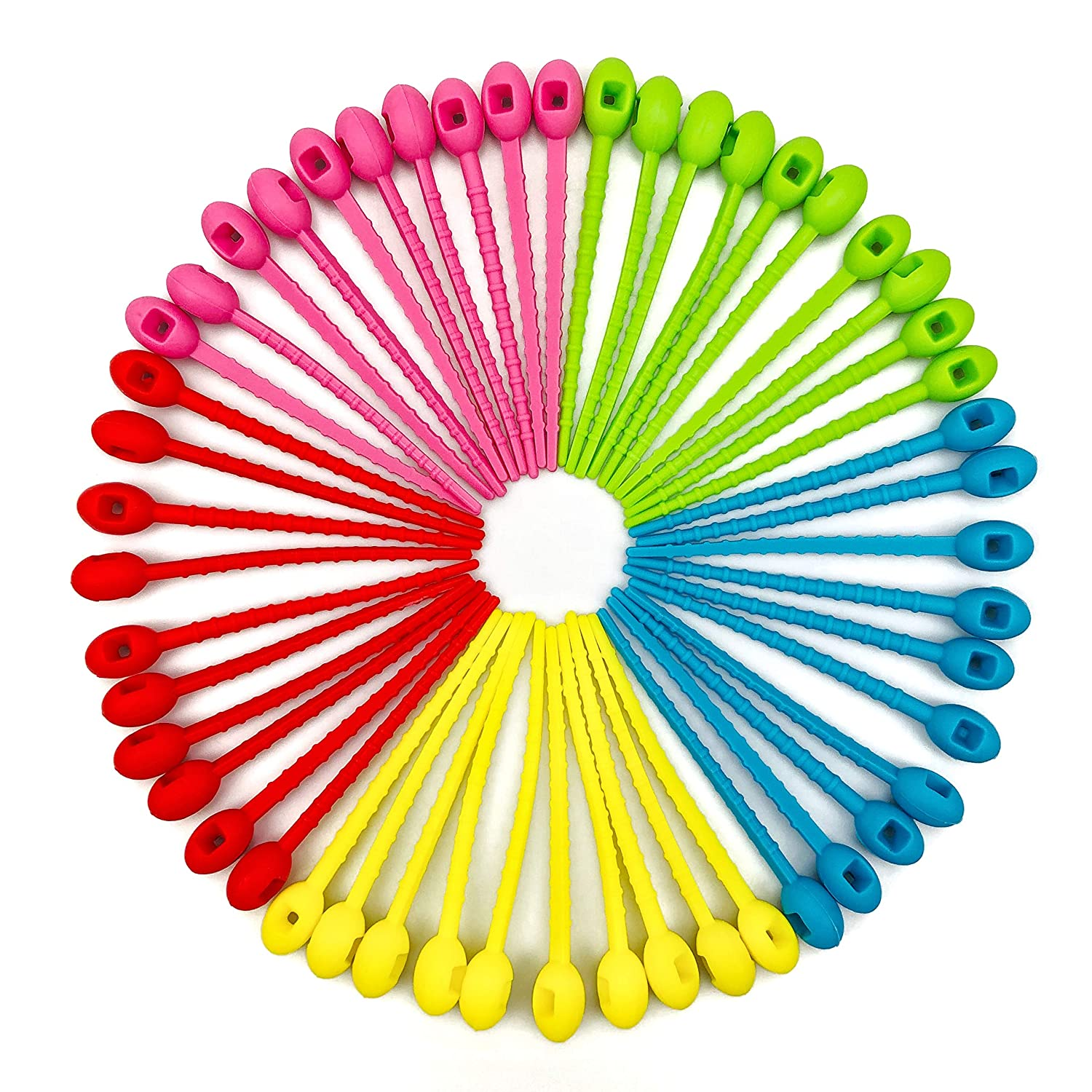 50 Pack of Reusable Silicone Cable Tie Straps Zip Ties Multi Color, Adjustable Twist Ties Rubber Ties for Cable/Bag/Headset/Plants Ties Soft, Pink/Red/Yellow/Green/Blue
