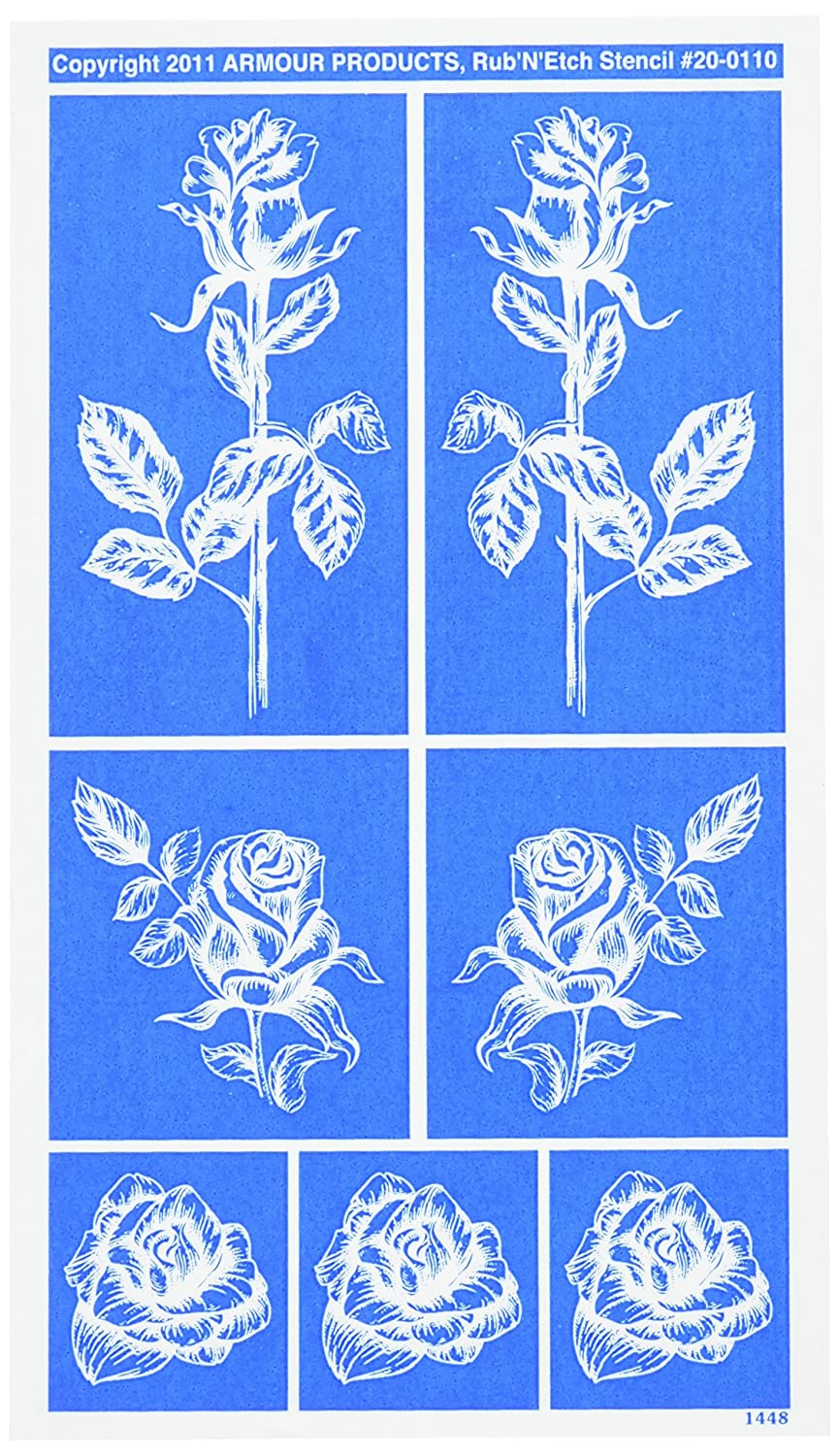Rub 'N' Etch Designer Stencil 5x8-Detailed Roses Armour Products 20R-0110