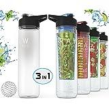 Raw Fountain Fruit Infused Water Bottle + Protein Shaker Bottle - 32oz. Sport Bottle - Tritan BPA Free - 3 in 1 Interchangeable Function For Your Needs!