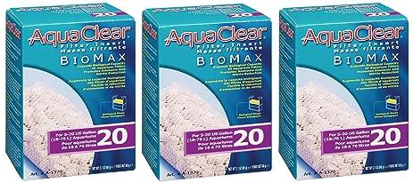 amazon com 3 pack aquaclear 20 gallon biomax pet supplies