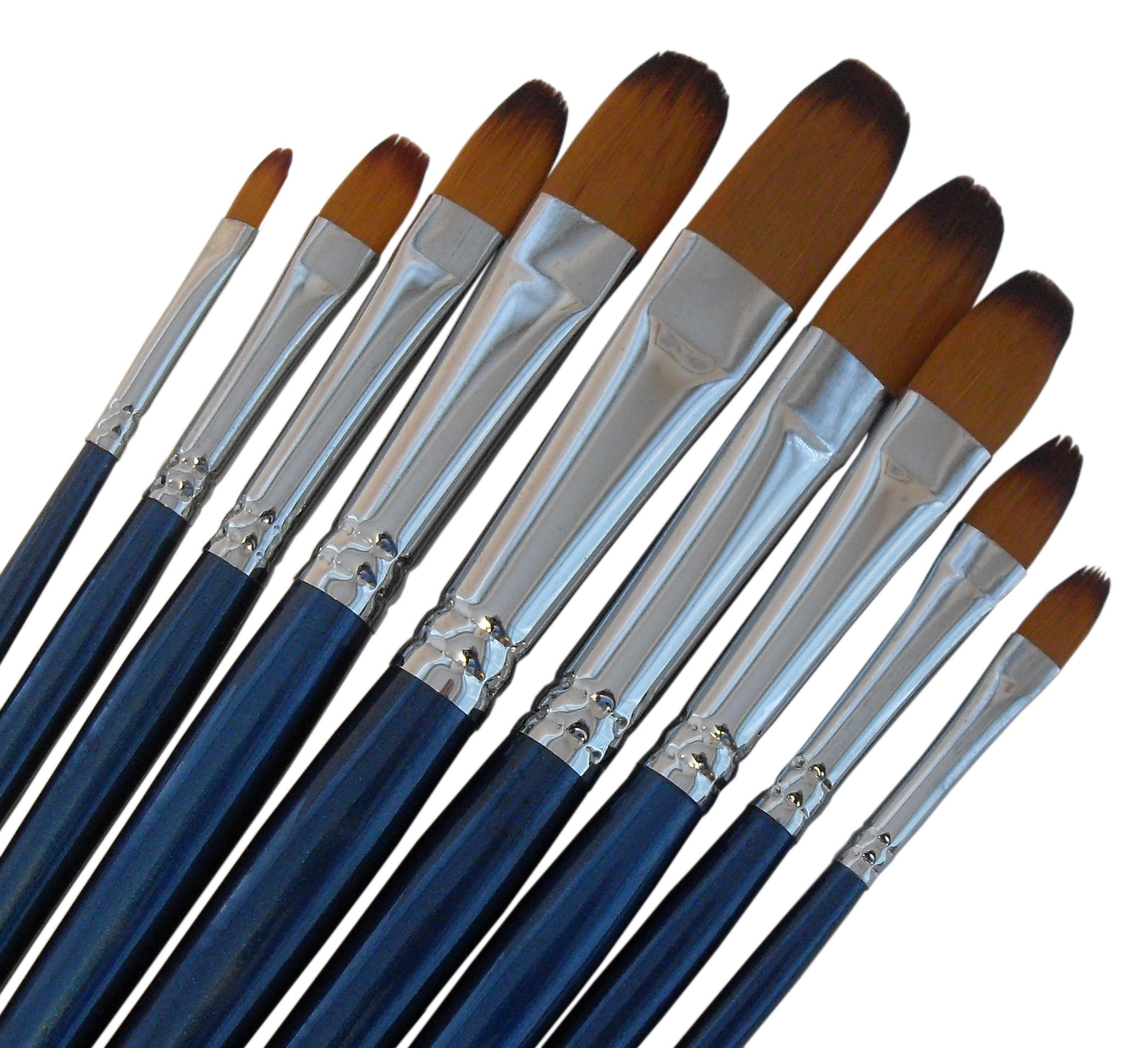 ARTIST PAINT BRUSHES - Fr - Top Quality Black Tip, Golden Nylon, Long Handle, Filbert Paint Brush Set - Ideal for Acrylic and Oil Painting, and Equally Useful for Watercolor and Gouache Color Painting by Magic Touches Making Life Magical