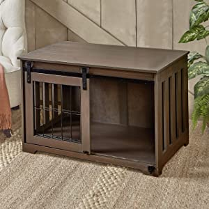 The Lakeside Collection Barn Door Pet Crate - End Table with Sliding Door for Pets - Rustic Brown