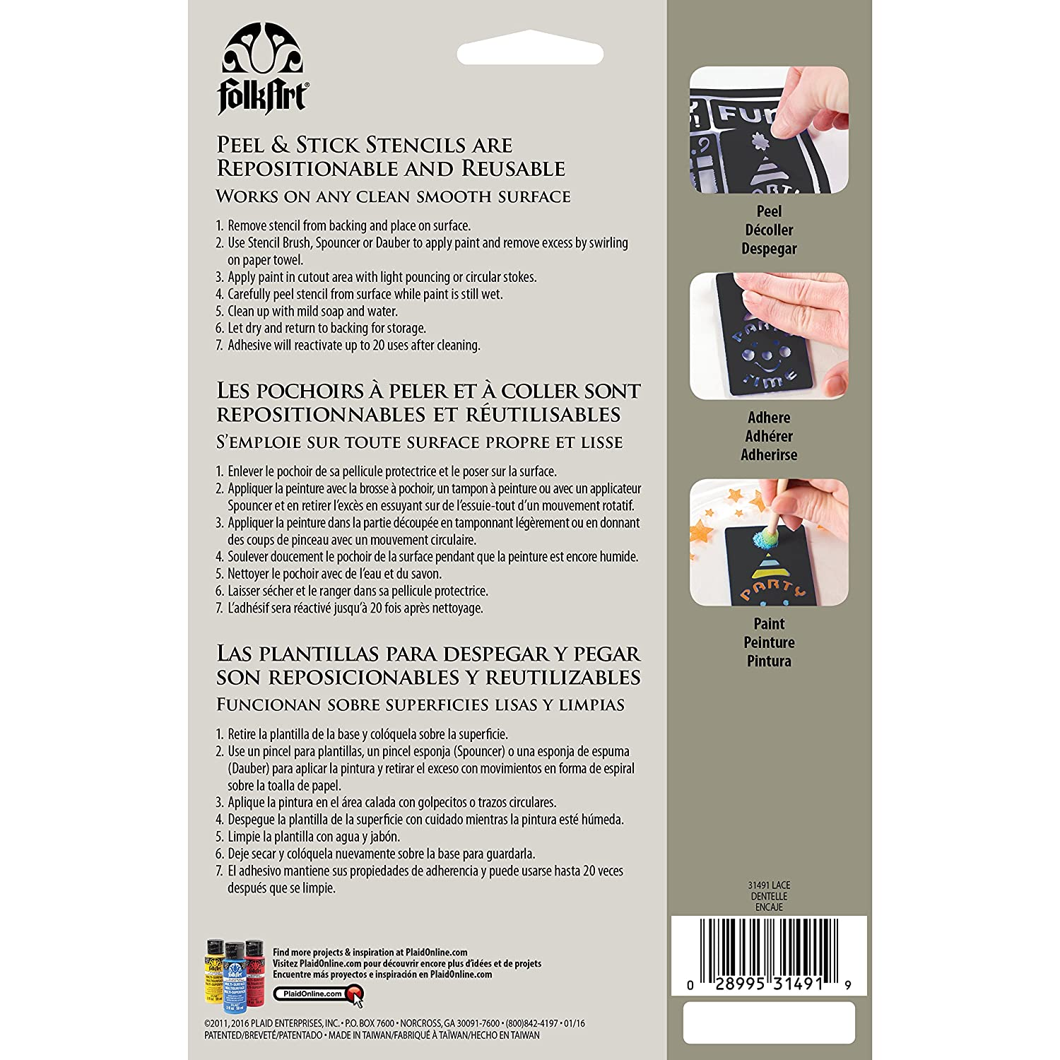 FolkArt Painting Stencil, 5.875 by 8.25-Inch, 31489 Folkloric