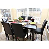 7 pc Espresso Leather Brown 6 Person Table and Chairs Brown Dining Dinette - Espresso Brown Parson Chair