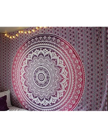 Craftozone Elefante Indio Peacock Mandala Tapestry, India Hippie Tapiz, Colgar en la Pared,