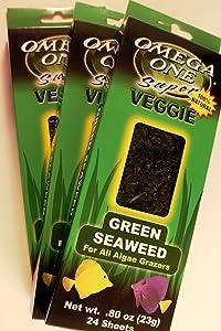 Omega One Super Veggie Green Seaweed for All Algae Grazers.8 oz, 23 g, 24 Sheets, 3 Pack