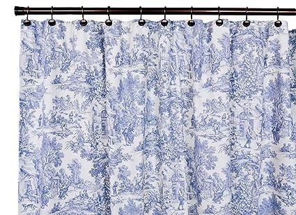 Victoria Park Toile Bathroom Shower Curtain Blue