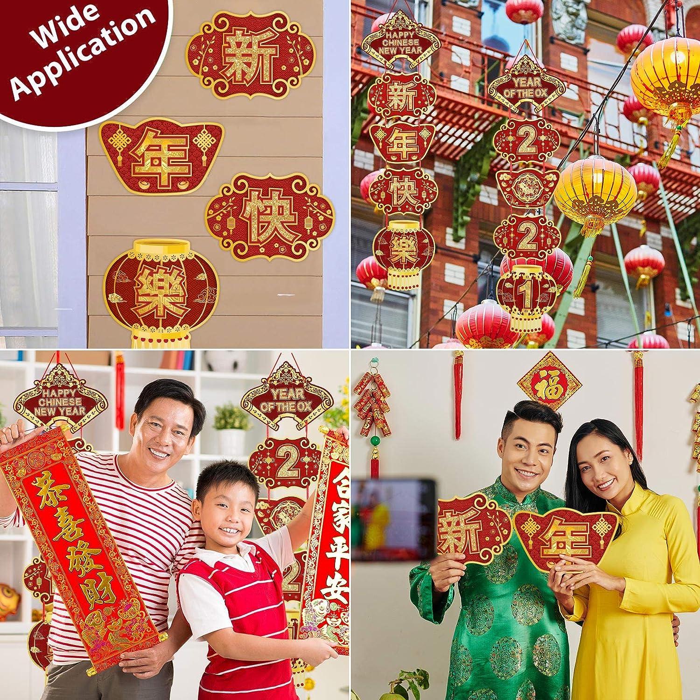 Banni/ère du Nouvel An Chinois 2021 Signe de D/écoration Porche de F/ête Chinoise Panneau de Bienvenue de lAnn/ée Boeuf Banni/ère Suspendue de F/ête du Printemps en Or Rouge pour F/ête 2021