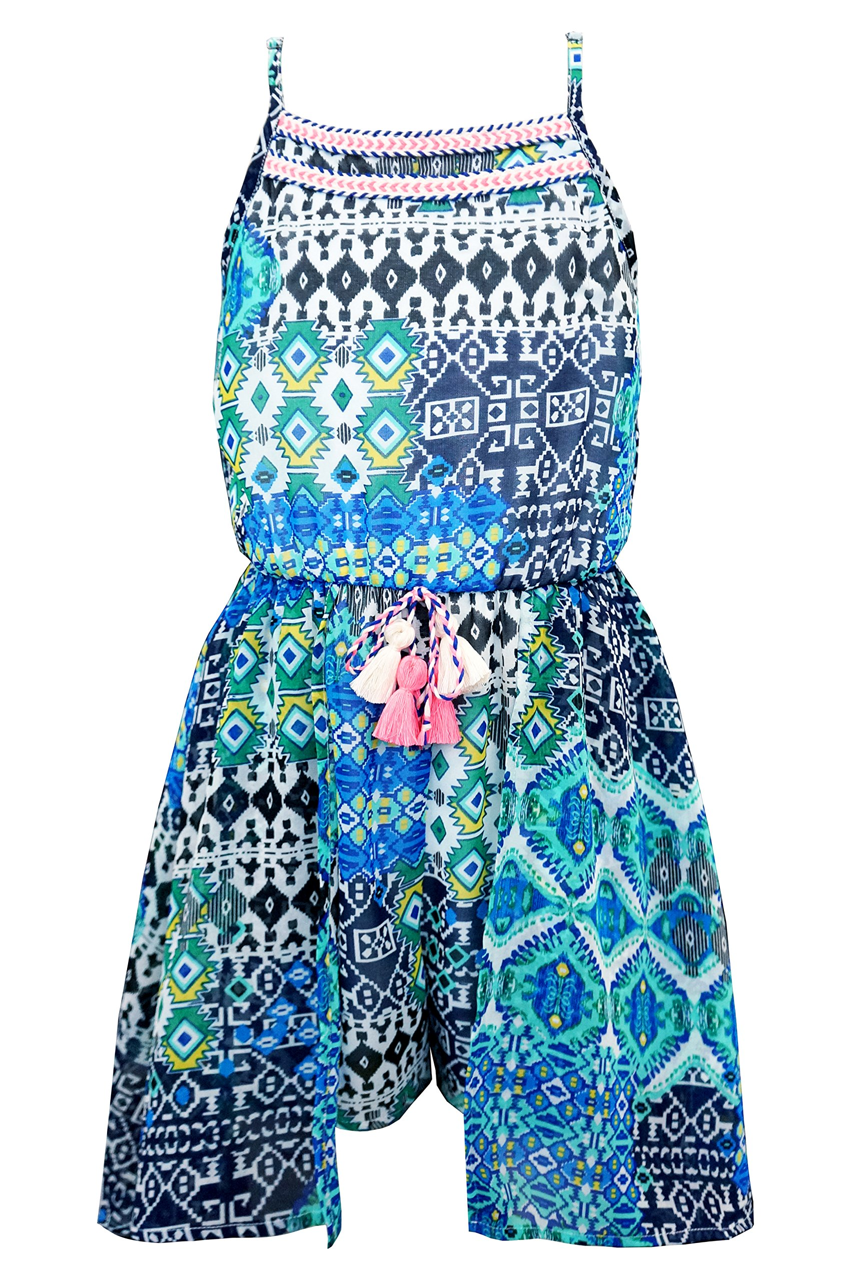 Truly Me, Floral Sleeveless Romper with Skirt Overlay, Size 7-16 (16, Green Multi)