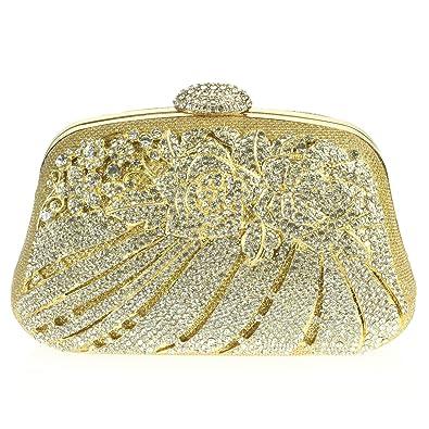 09248fee9a AARZ LONDON Femmes Dames Cristal Soir Fête Mariage De mariée Bal de promo  Diamante Or Sac