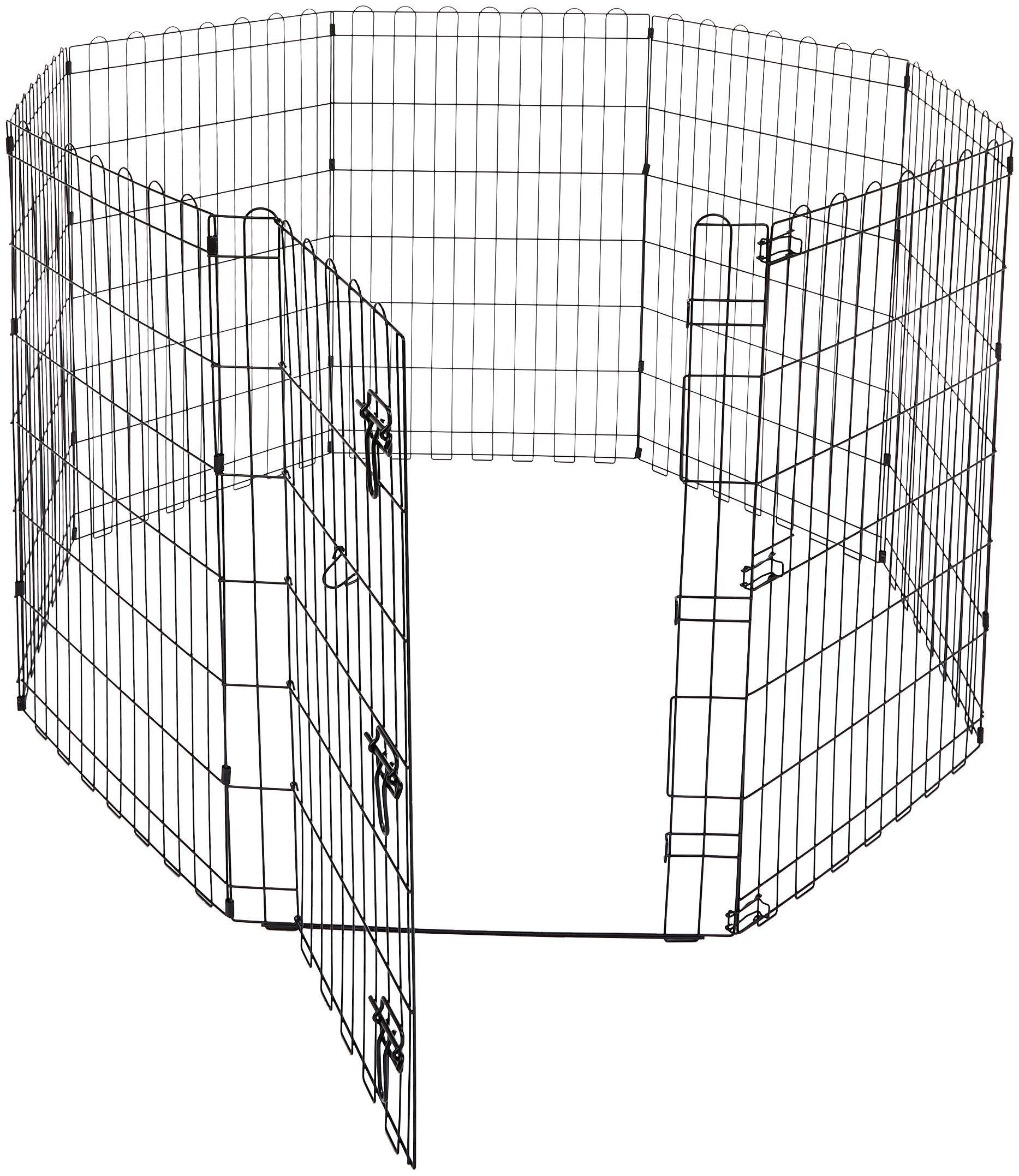 AmazonBasics Foldable Metal Pet Exercise and Playpen with Door, 36''