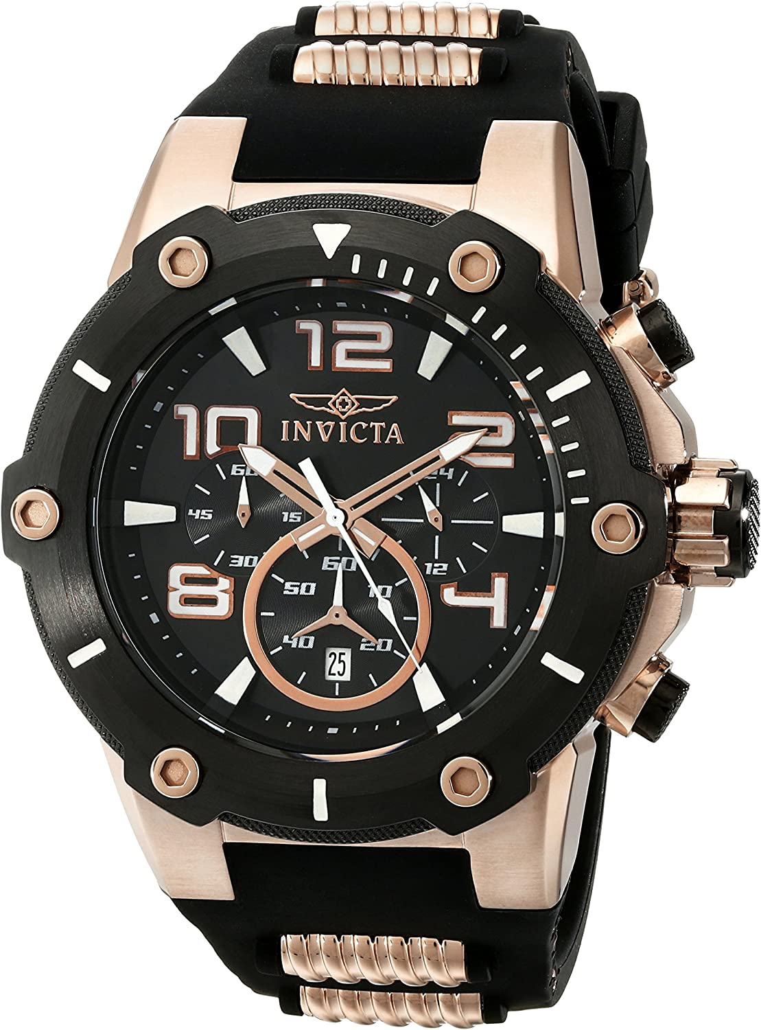 Invicta Men s 17201 Speedway Analog Japanese Quartz Black 18k Rose Gold Ion-Plated Stainless Steel Watch