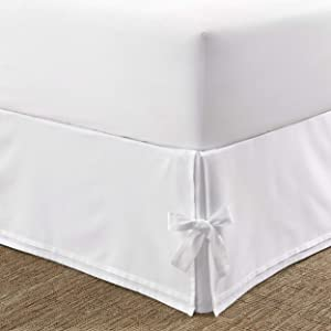 Laura Ashley Home | Corner Ties Collection | Luxury Premium Hotel Quality Bedskirt, Easy Fit, Anti Wrinkle & Fade Resistant, Stylish Design for Home Décor, Twin, White