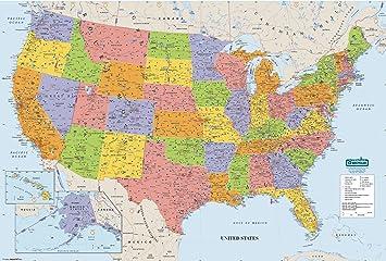 Amazoncom House Of Doolittle Write OnWipe Off Laminated United - United states map