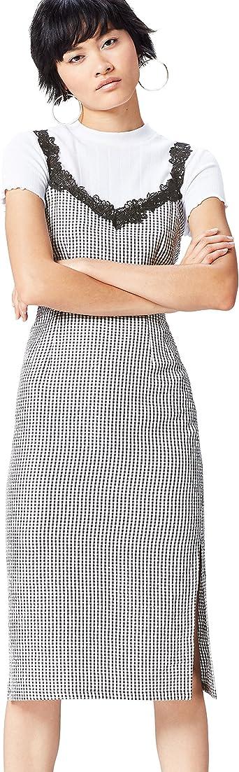 Marca Amazon - find. Vestido Ajustado con Estampado de Cuadros y Encaje para Mujer