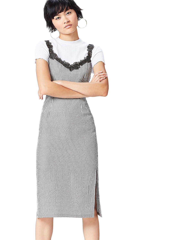 TALLA 38 (Talla del fabricante: Small). find. Vestido Ajustado con Estampado de Cuadros y Encaje para Mujer