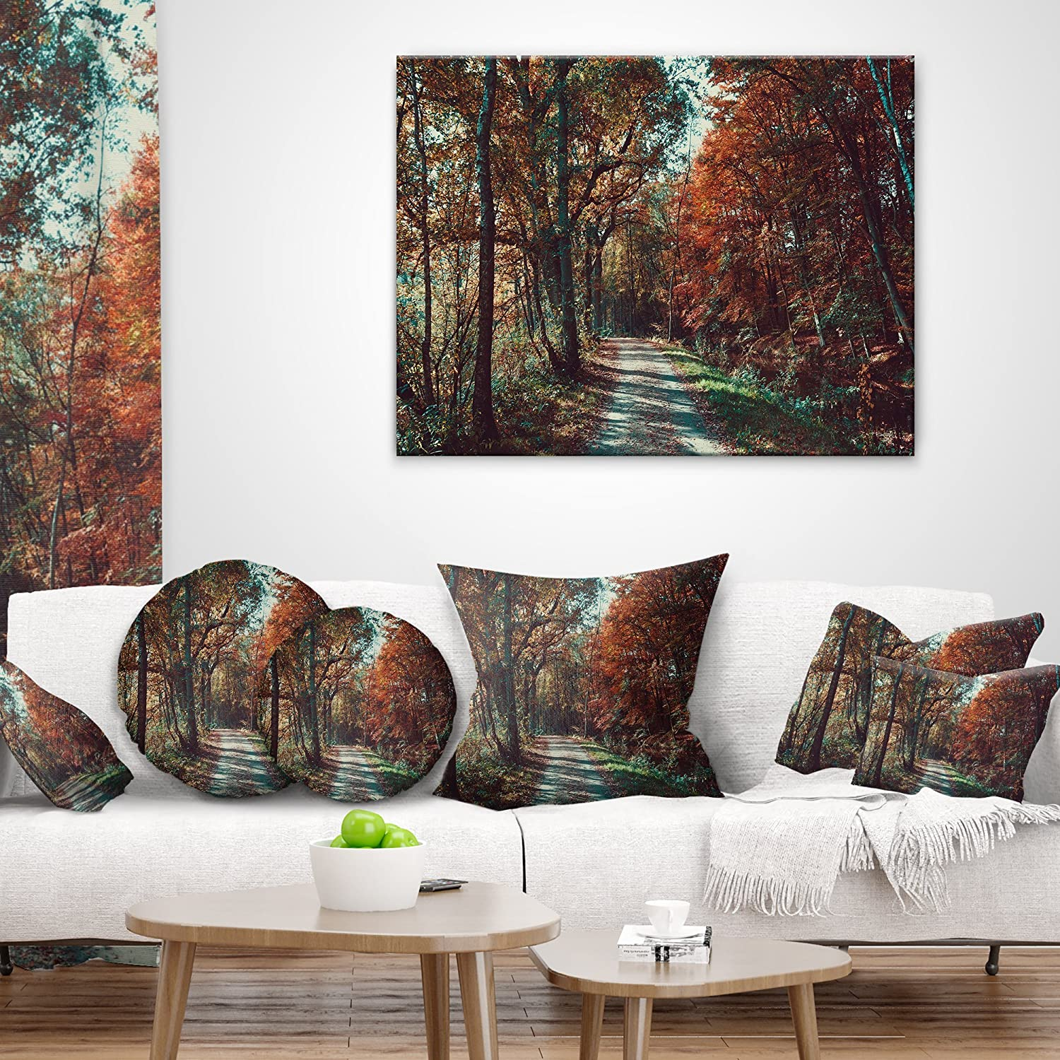 Designart Cu9736 18 18 Road Through Red Fall Forest Landscape Photo Throw Cushion Pillow Cover For Living Room X 18 In Sofa 18 In Home Kitchen Decorative Pillows Inserts Covers