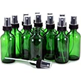 Vivaplex, 12, Green, 2 oz Glass Bottles, with Black Fine Mist Sprayers