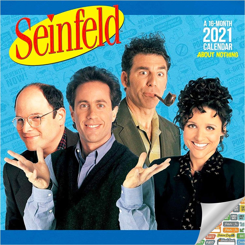 Seinfeld Calendar 2021 Set - Deluxe 2021 Seinfeld Wall Calendar with Over 100 Calendar Stickers (90's TV, Office Supplies)