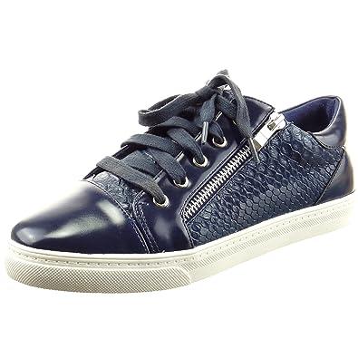 Sopily Damen Mode Schuhe Sneaker Slip-On Schlangenhaut Reißverschluss Patent - Blau FRF-6-158-30 T 40 geVzrz