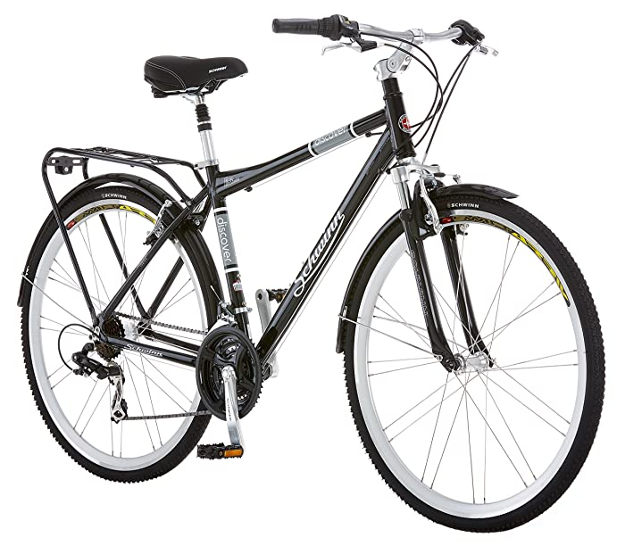 Schwinn Discover Hybrid Bike, Featuring 16-Inch/Small Aluminum Step-Through Frame with 21-Speed Drivetrain, Front and Rear Fenders