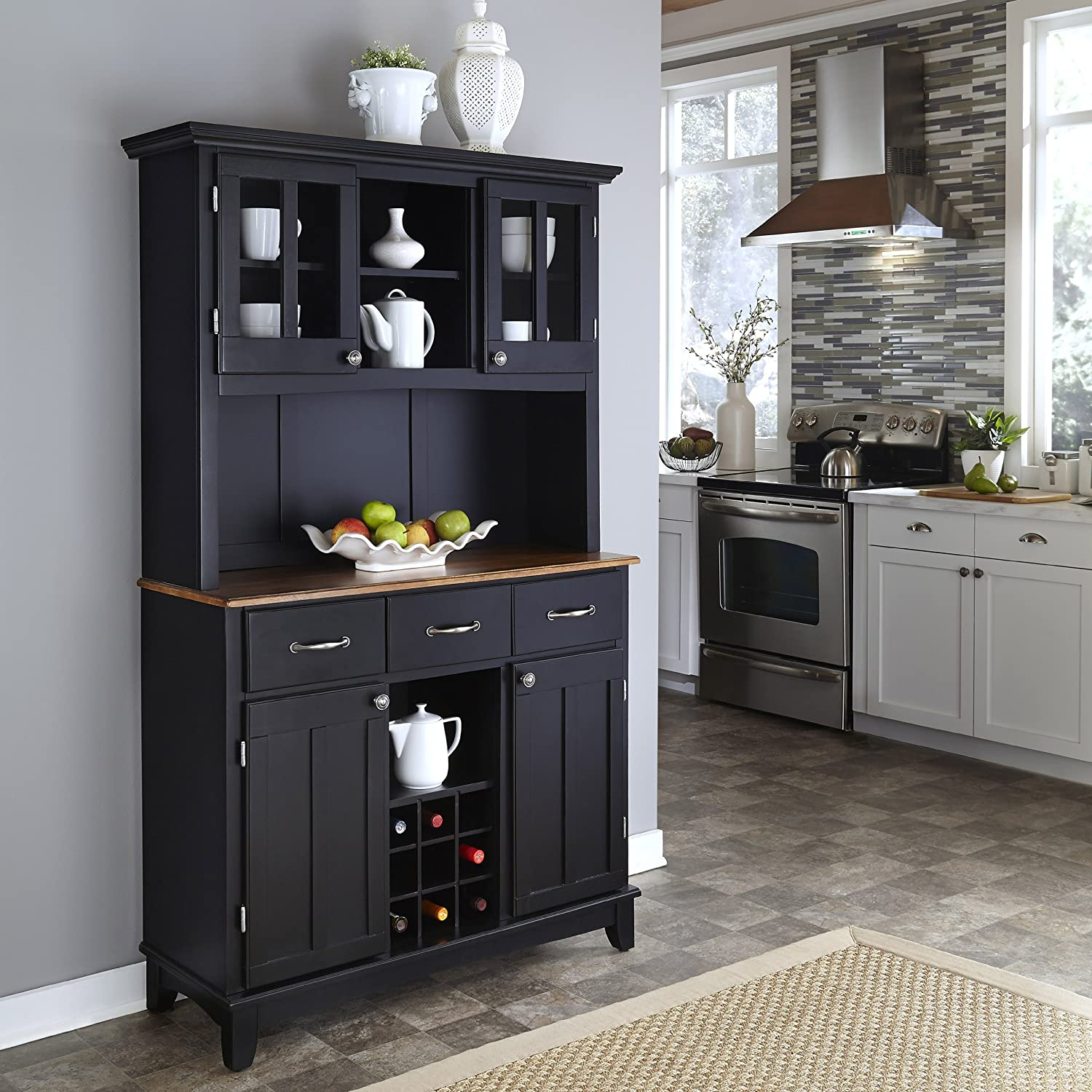 Amazon.com - Home Styles 5100-0046-42 Buffet of Buffets Cottage Oak Wood  Top Buffet with Hutch, Black Finish, 41-3/4-Inch - Buffets & Sideboards - Amazon.com - Home Styles 5100-0046-42 Buffet Of Buffets Cottage