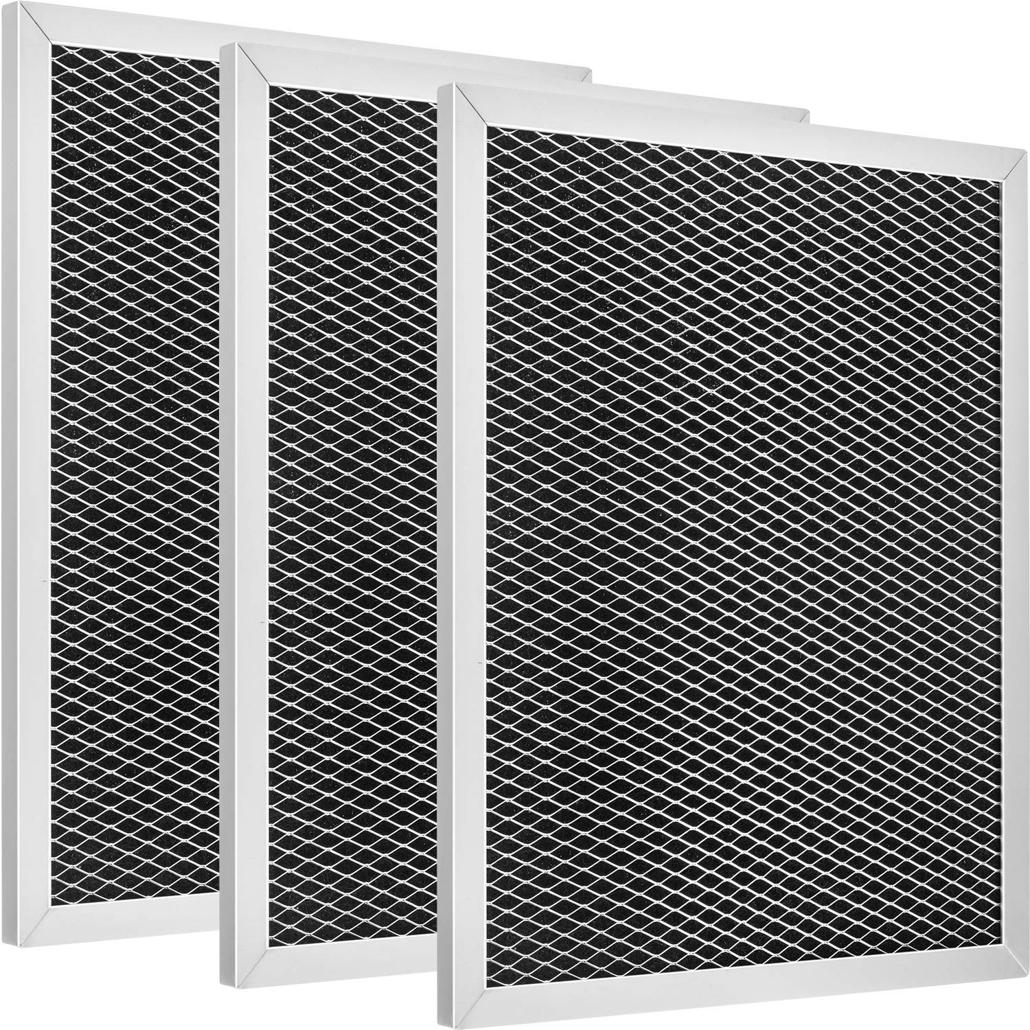 3 Pack 97007696 Aluminum Charcoal Combo Range Hood Filter Compatible with Broan, Kenmore, Maytag, Replace for 1172266, 41F, 5-3082, 51113711, Size 8-3/4 x 10-1/2 x 3/8 Inch