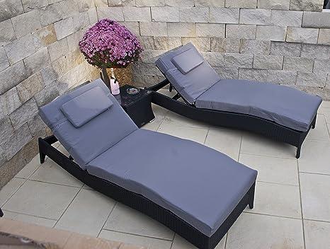 Juego de muebles de jardín con 2 tumbonas con cojines y mesa ...