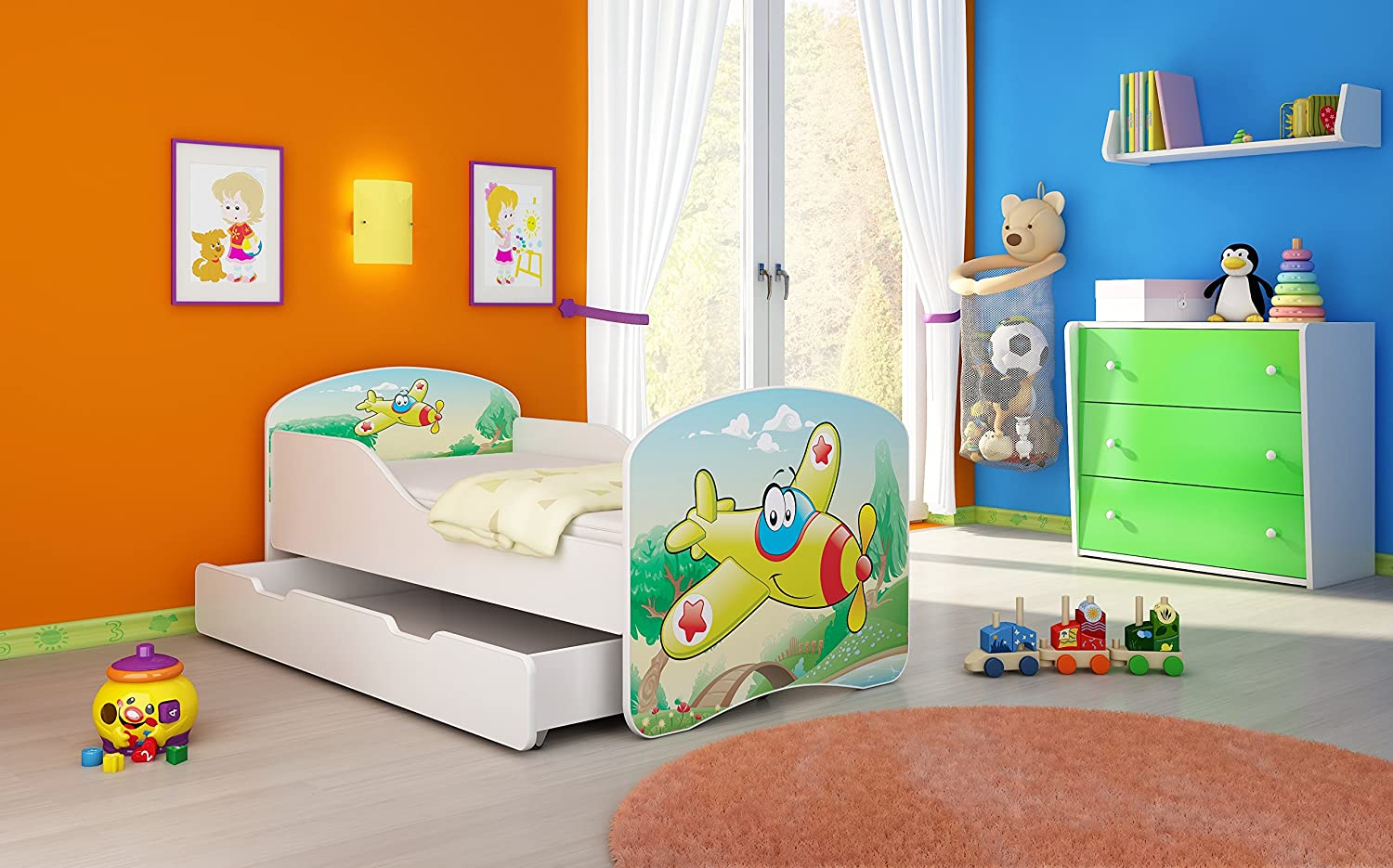 TODDLER KIDS CHILDRENS BED luk plain 160x80 cm with mattres