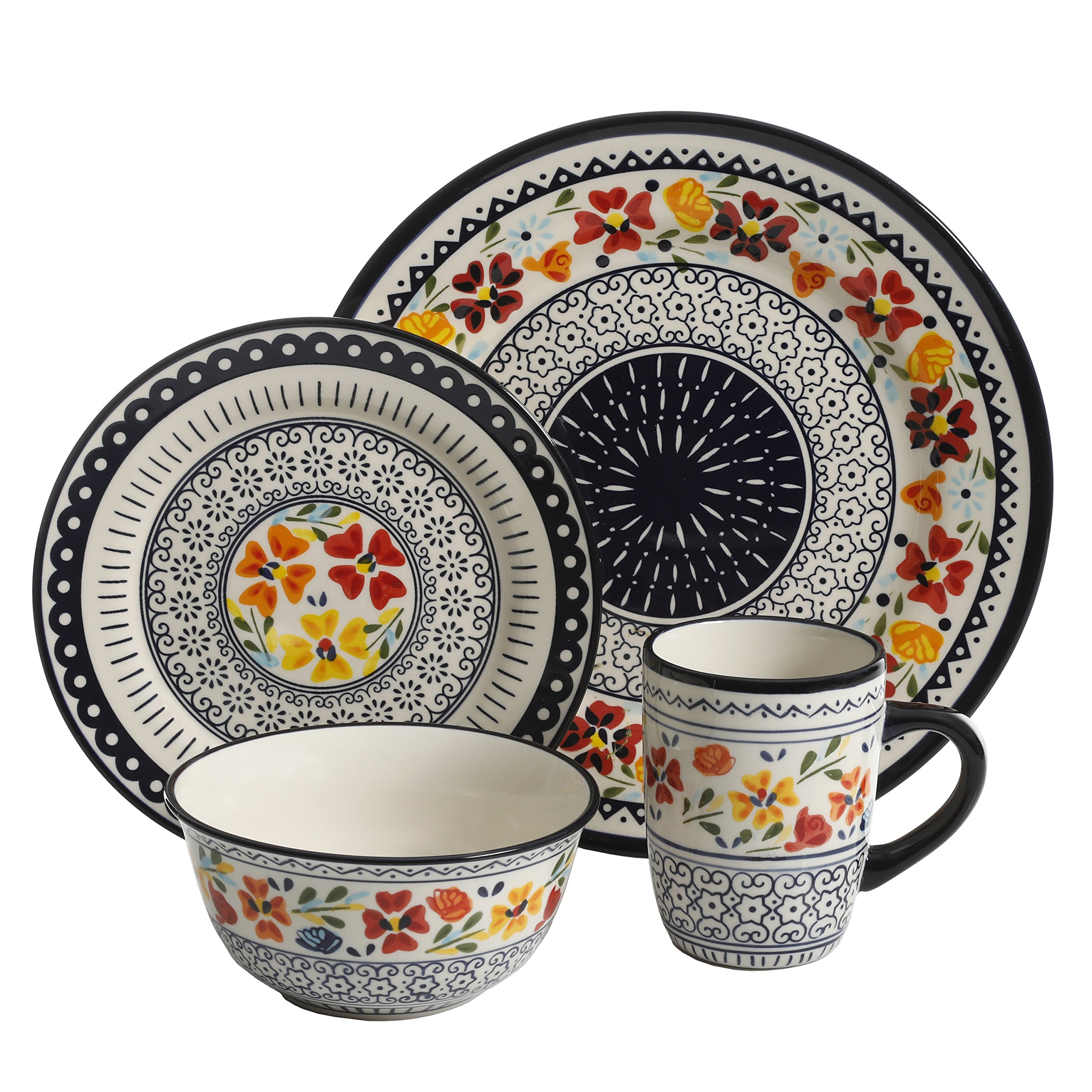 Gibson Elite 92995.16R Luxembourg Handpainted 16 Piece Dinnerware Set, Blue and Cream w/Floral Designs by Gibson