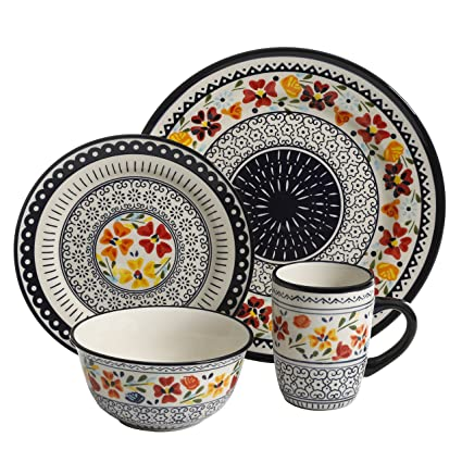 a45dfc1286b7 Amazon.com  Gibson Elite 92995.16R Luxembourg Handpainted 16 Piece  Dinnerware Set