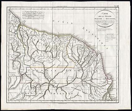 ThePrintsCollector arma de juguete de mapamundi antiguo-Guayana Francesa-Surinam-Jean Baptiste Poirson