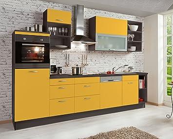 Amazon.de: Küchenzeile Currygelb Teresa links, 310cm breit inkl ...