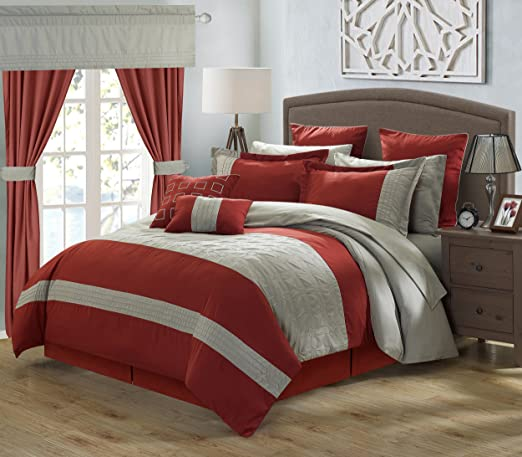 Bedroom Comforter Set 24Pc Bed In A Bag Master Guest Curtains Sheets Pillow