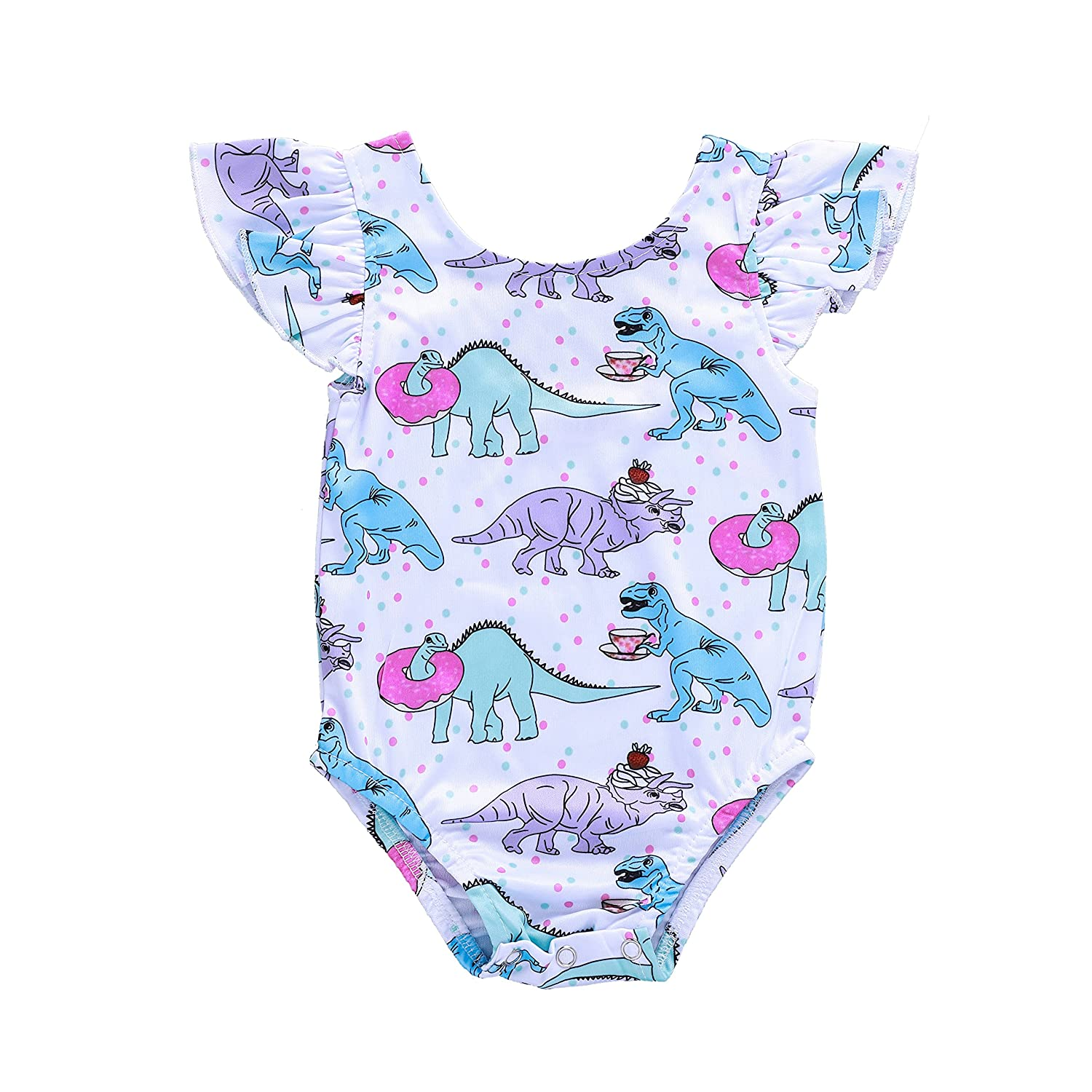 88bb690a1306 Anywow Baby Girls Bodysuit Dinosaur Party Pattern Romper Infant ...