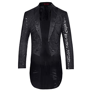 28d3682fd95a Mens Tails Slim Fit Tailcoat Sequin Dress Coat Swallowtail Dinner Party Wedding  Blazer Suit Jacket Black