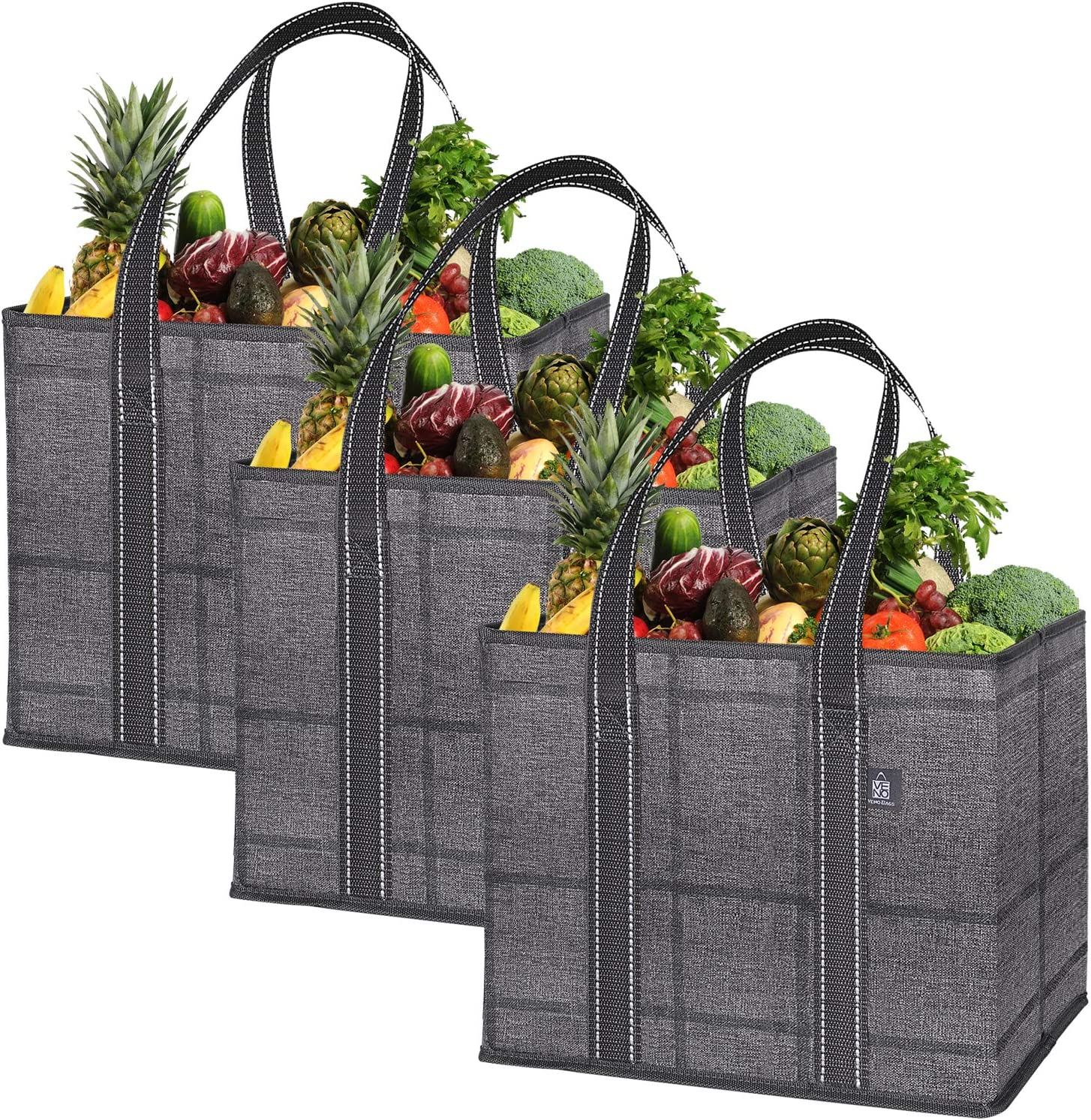 VENO Reusable Grocery Shopping Bags