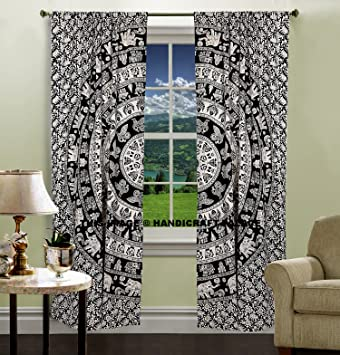 Indian Urban Elephant Mandala Wall Tapestry Boho Decorative Curtains Window  Curtain Window Treatment Panels Set Large