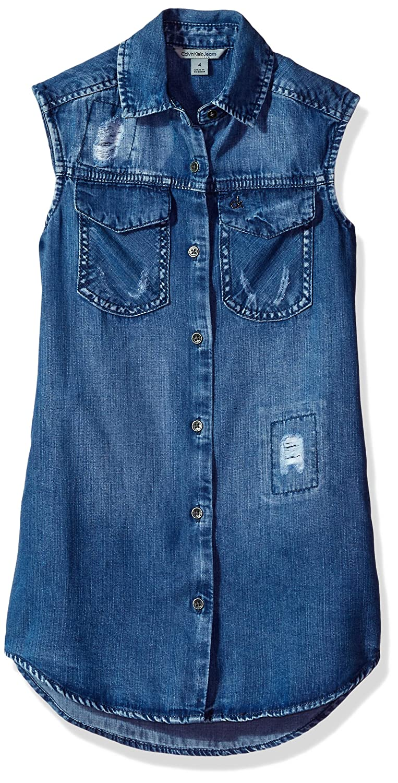 e826ea4b669 Amazon.com  Calvin Klein Girls  Lyocell Denim Shirtdress  Clothing