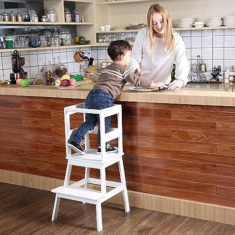 Amazon.com: SDADI Kids Kitchen Helper Kitchen Step Stool with ...