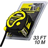Finder Heavy Duty 33ft (10m) Tape Measures Ruler, Extra Long, Tough and Durable Professional Tool