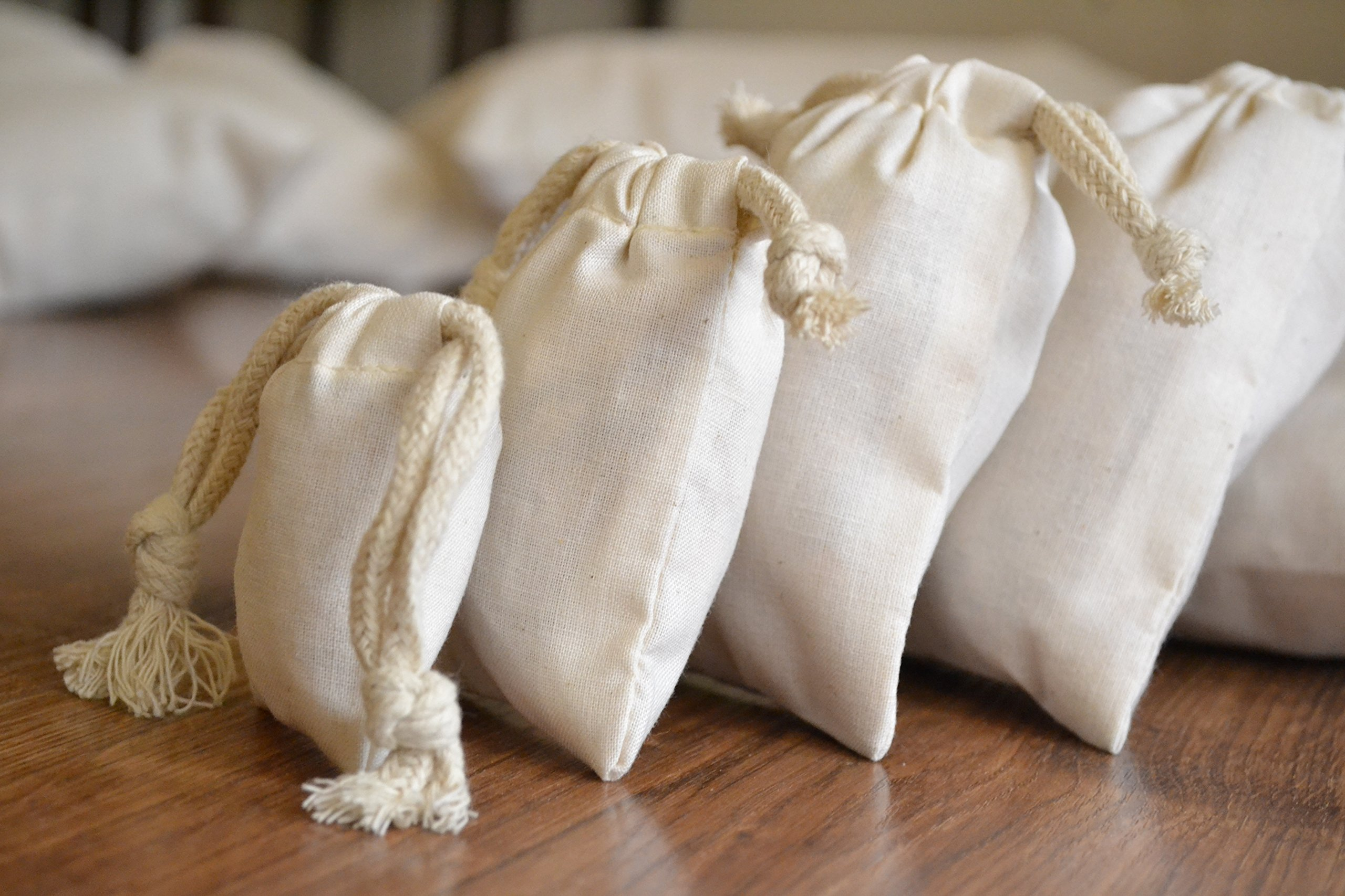 Cotton Double Drawstring Muslin Bag. Natural Color. 3''X''5. Count: 250